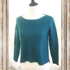 Lucky Brand knit sweater size M teal green hi-lo